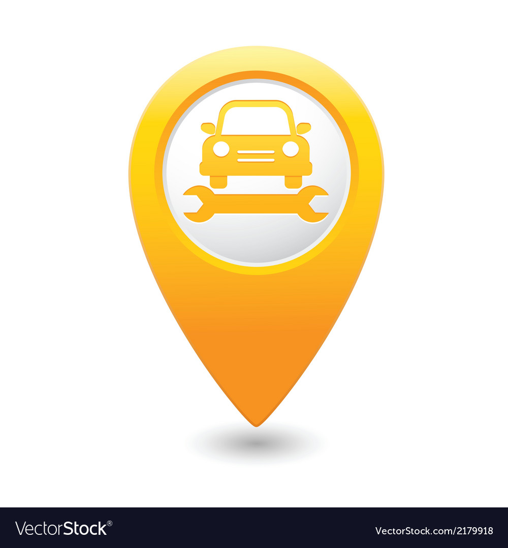 Car service icon on yellow pointer vector | Price: 1 Credit (USD $1)