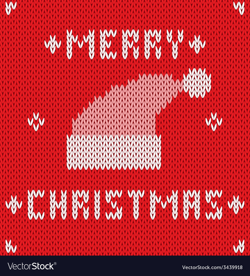 Christmas card with knitted texture vector | Price: 1 Credit (USD $1)