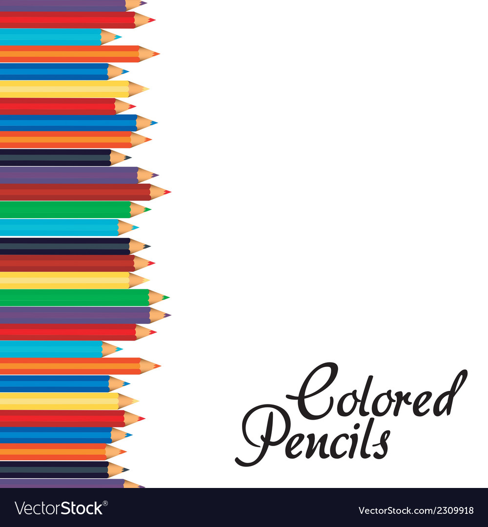 Close up of color pencils with different color ove vector | Price: 1 Credit (USD $1)