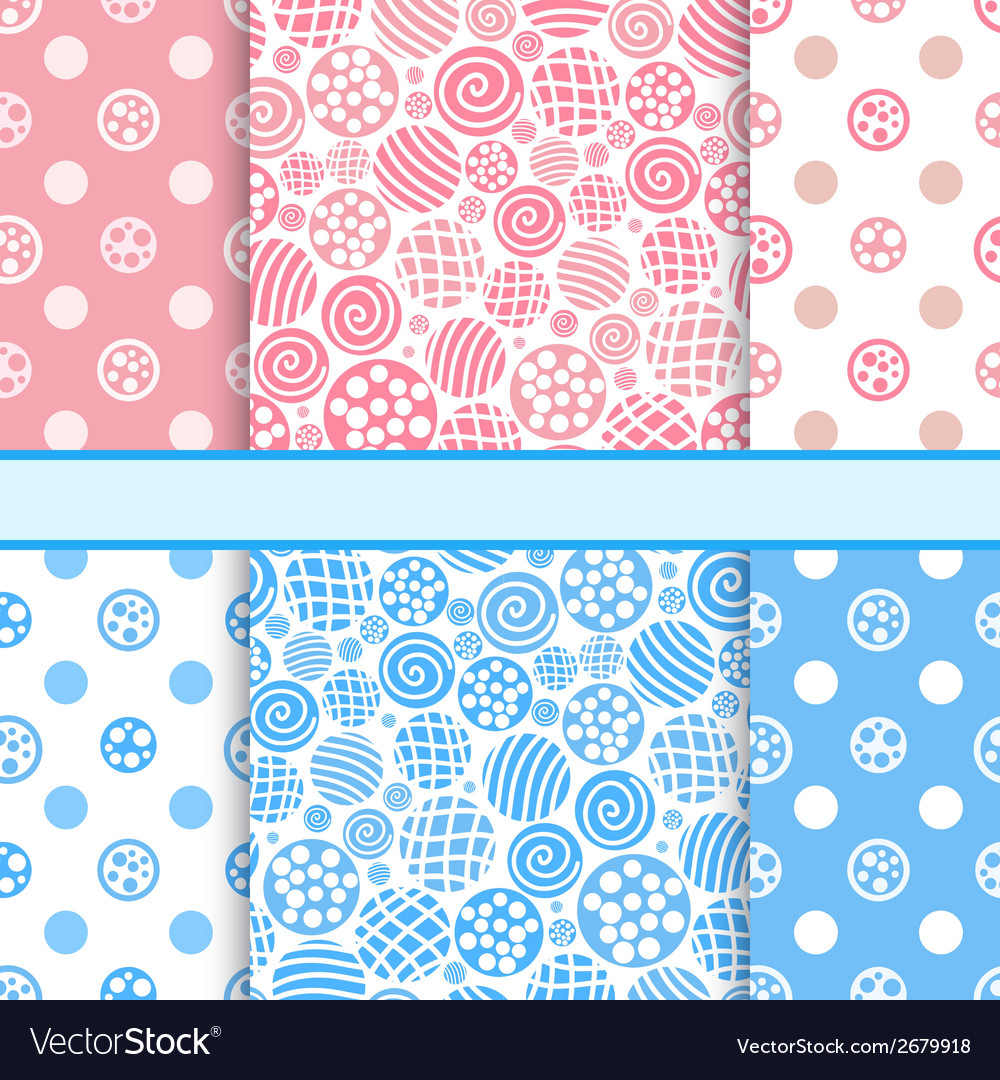 Pink and blue set of polka dot fabric seamless vector | Price: 1 Credit (USD $1)