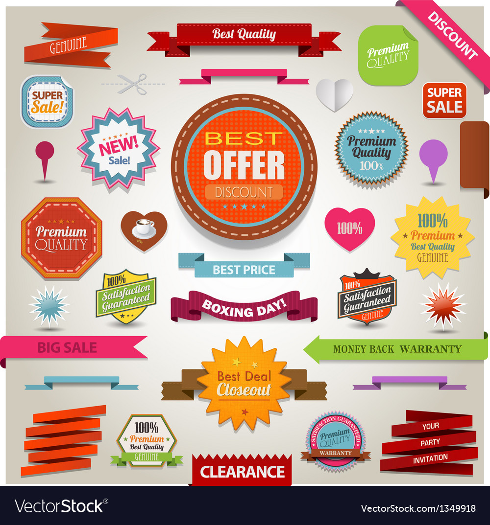 Retro ribbons vintage labels banners and emblems vector | Price: 3 Credit (USD $3)