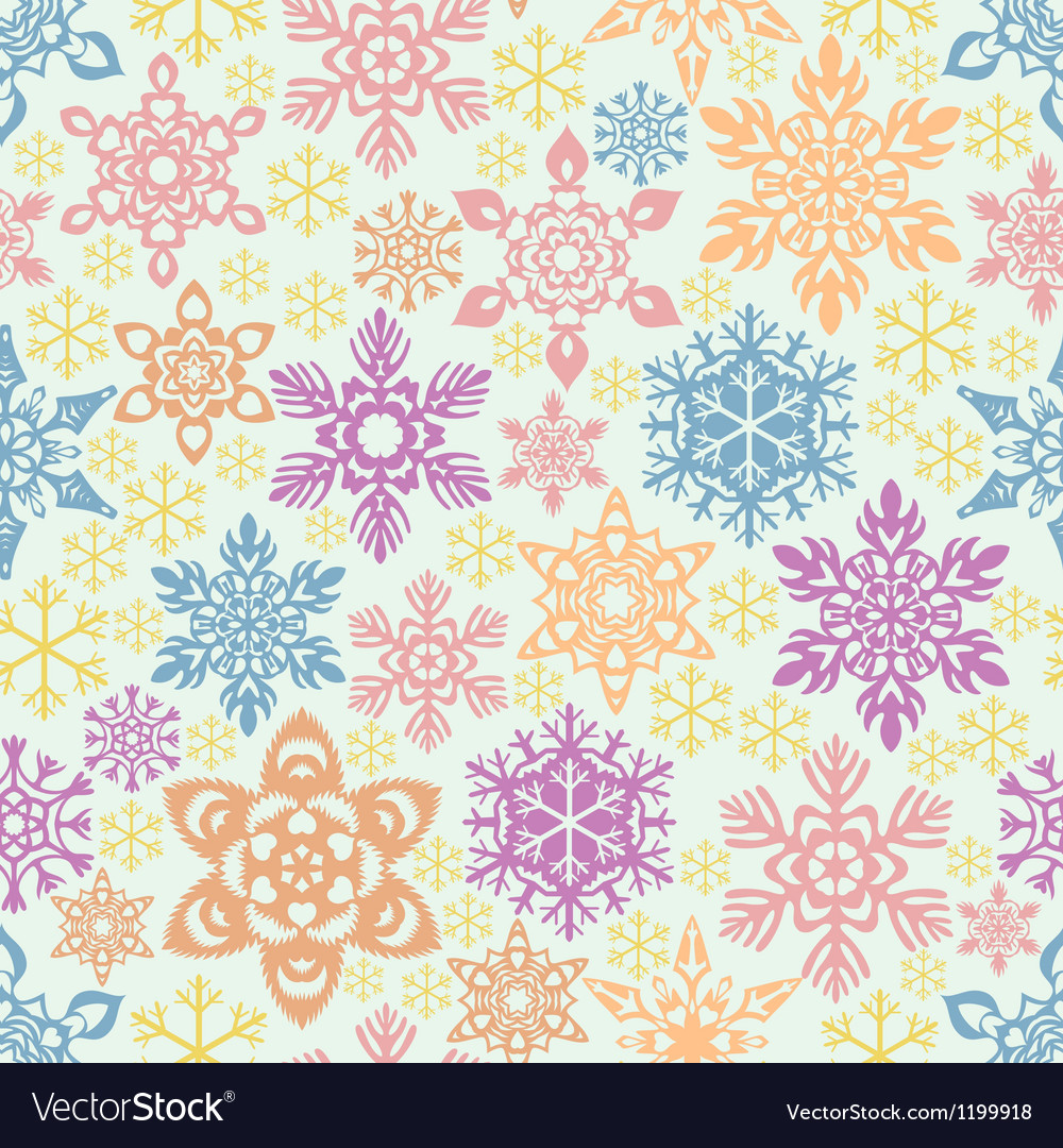 Seamless snowflakes pattern easy to change colors vector | Price: 1 Credit (USD $1)