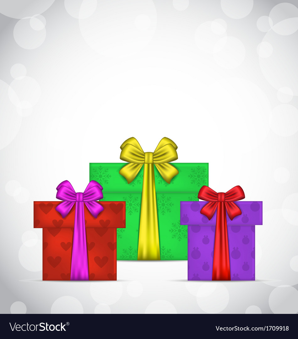 Set christmas gift boxes on light background vector | Price: 1 Credit (USD $1)