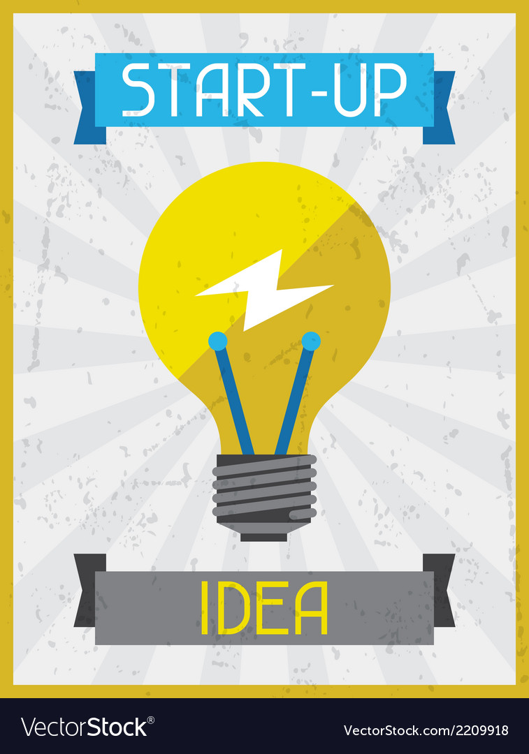 Start-up idea retro poster in flat design style vector | Price: 1 Credit (USD $1)