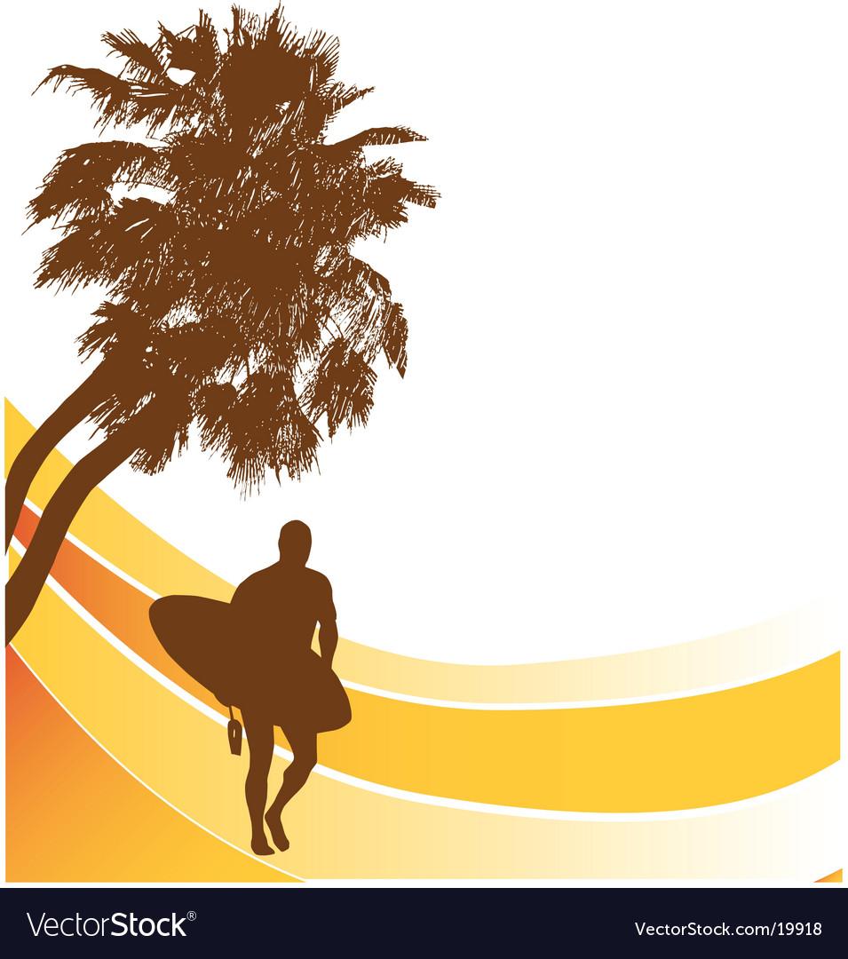Sufers beach banner vector | Price:  Credit (USD $)
