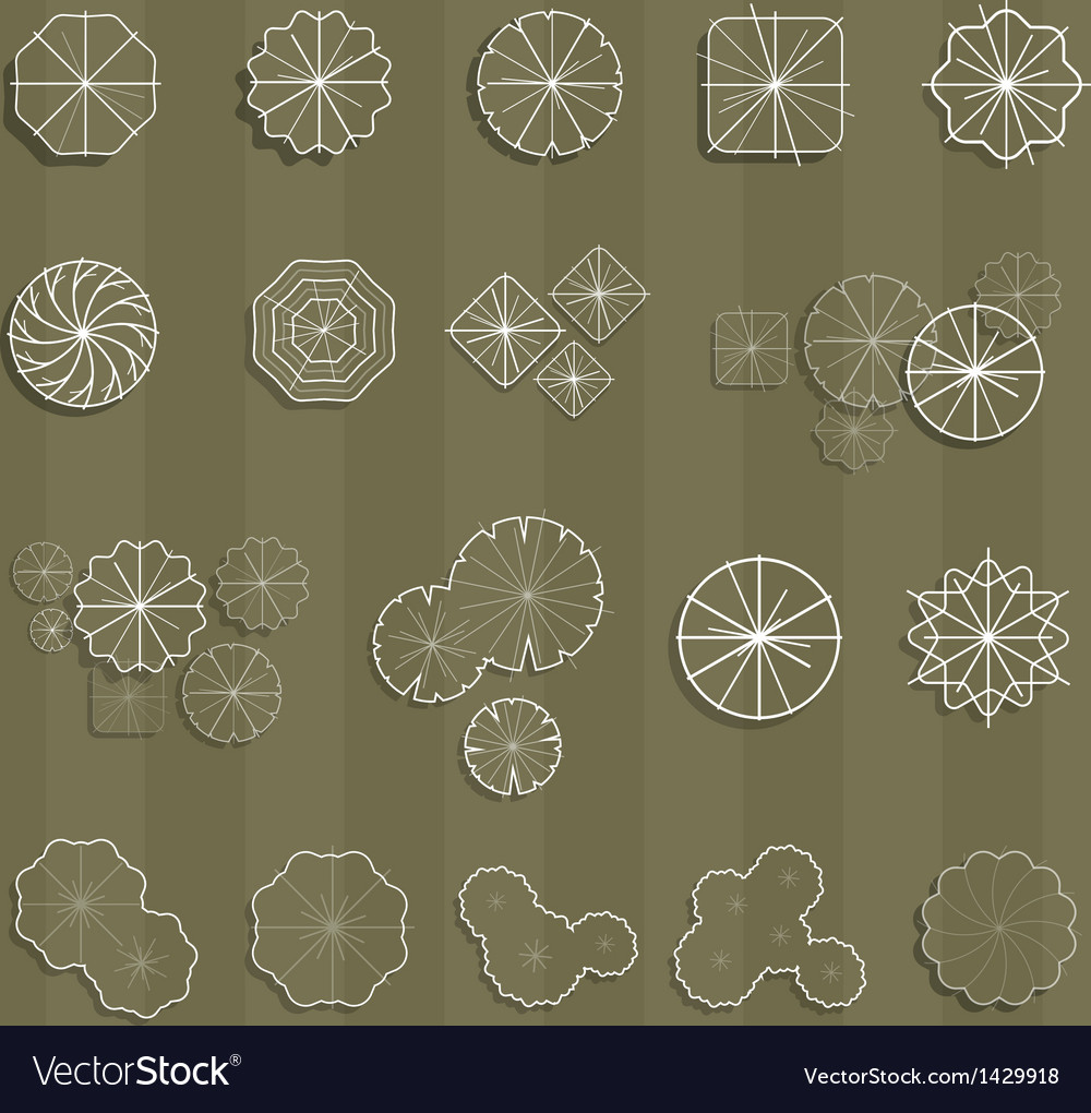 Trees top view outline for landscape vector | Price: 1 Credit (USD $1)