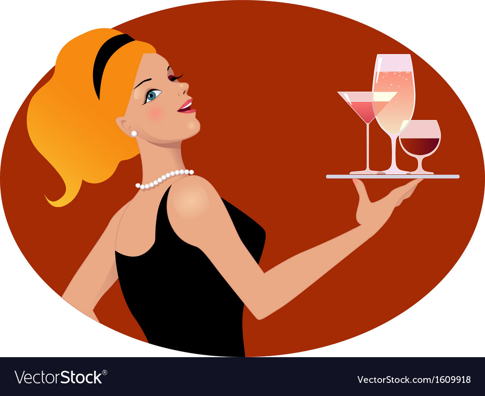 Waitress with drinks vector | Price: 1 Credit (USD $1)