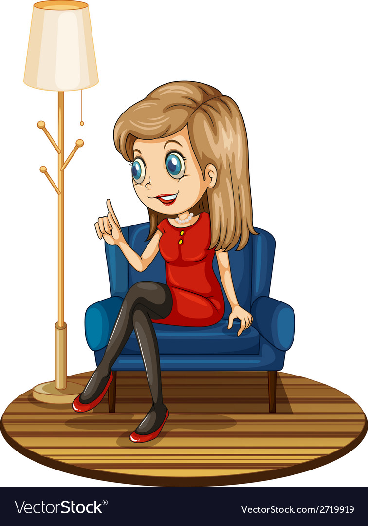 A girl sitting at the blue couch vector | Price: 1 Credit (USD $1)