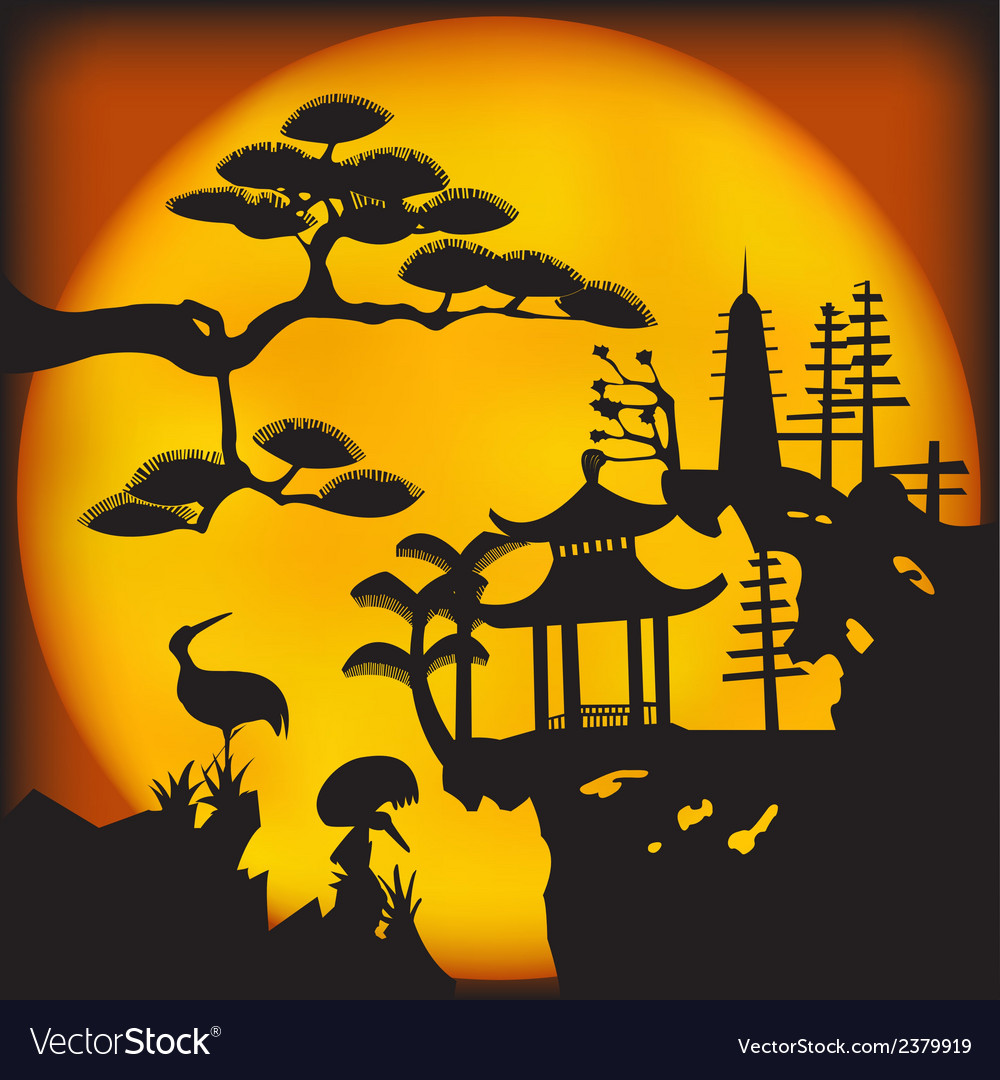 Asian landscape2 vector | Price: 1 Credit (USD $1)
