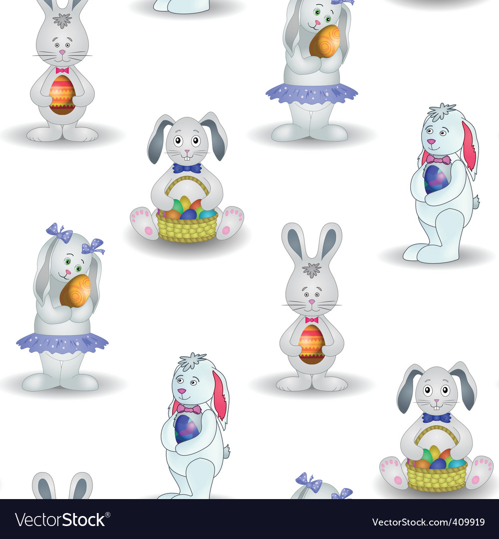 Background rabbits with easter egg vector | Price: 1 Credit (USD $1)