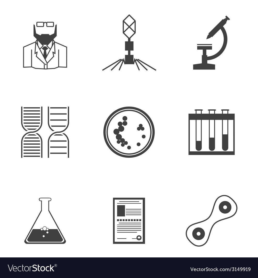 Black icons for bacteriology vector | Price: 1 Credit (USD $1)