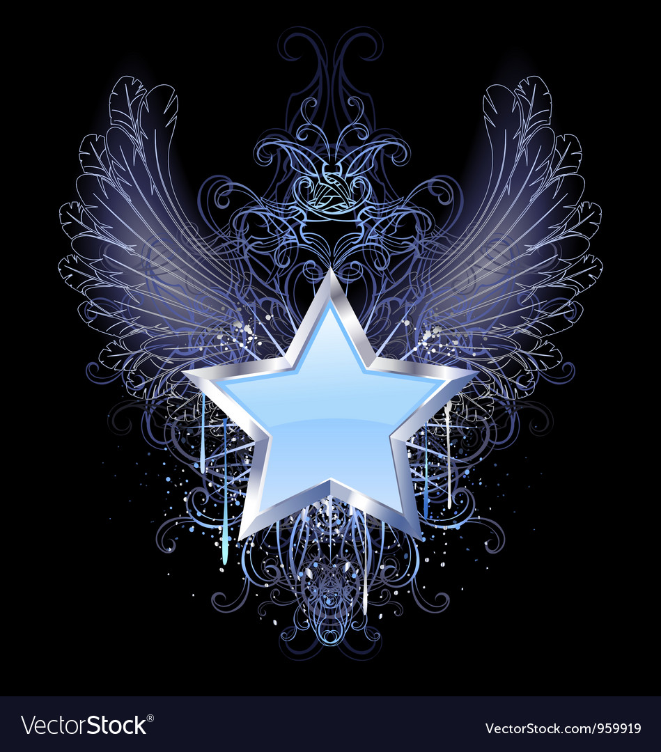 Blue star on a dark background vector | Price: 1 Credit (USD $1)