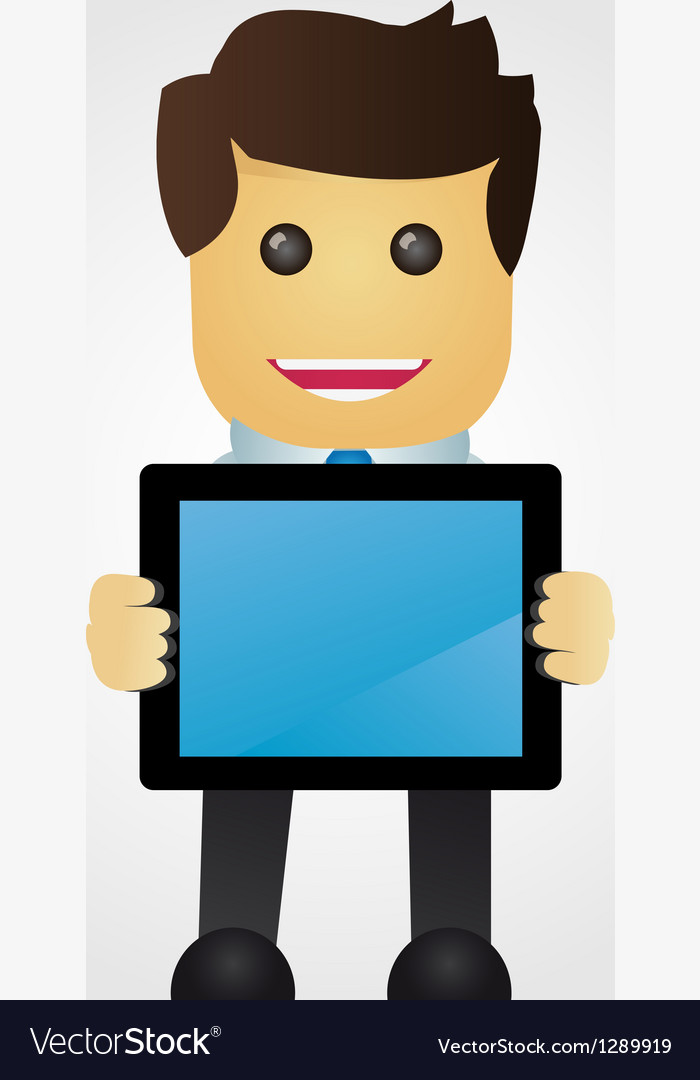 Business man with tablet pc vector | Price: 1 Credit (USD $1)