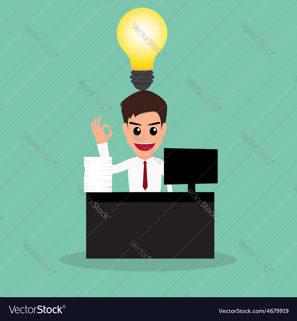 Businessman work hard and have idea vector | Price: 1 Credit (USD $1)