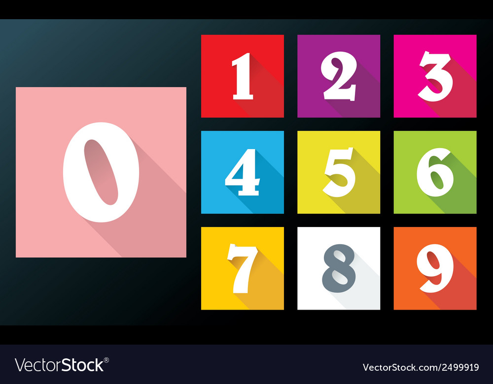 Flat numbers with long shadows for mobil app vector | Price: 1 Credit (USD $1)