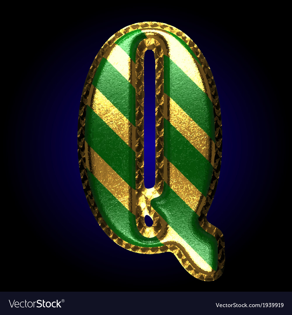 Golden and green letter q vector | Price: 1 Credit (USD $1)