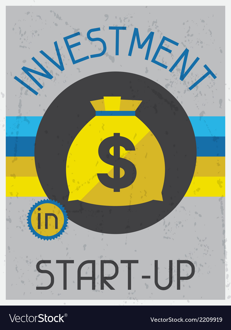 Investment in start-up retro poster flat design vector | Price: 1 Credit (USD $1)