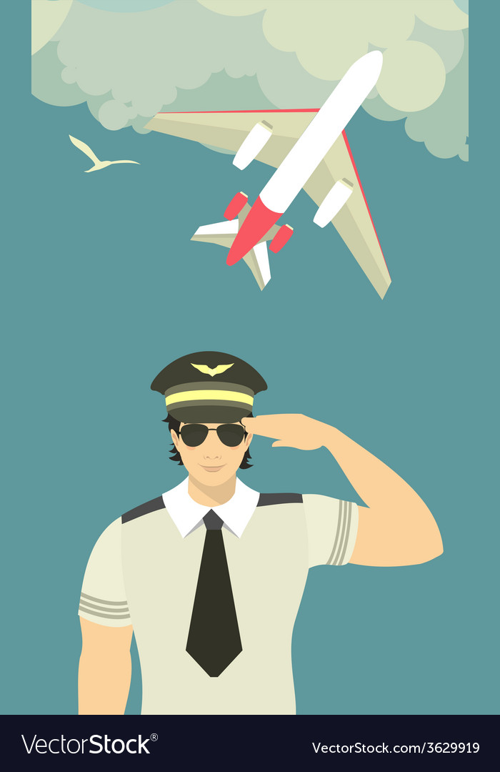 Pilot of the plane on sky background vector   Price: 1 Credit (USD $1)
