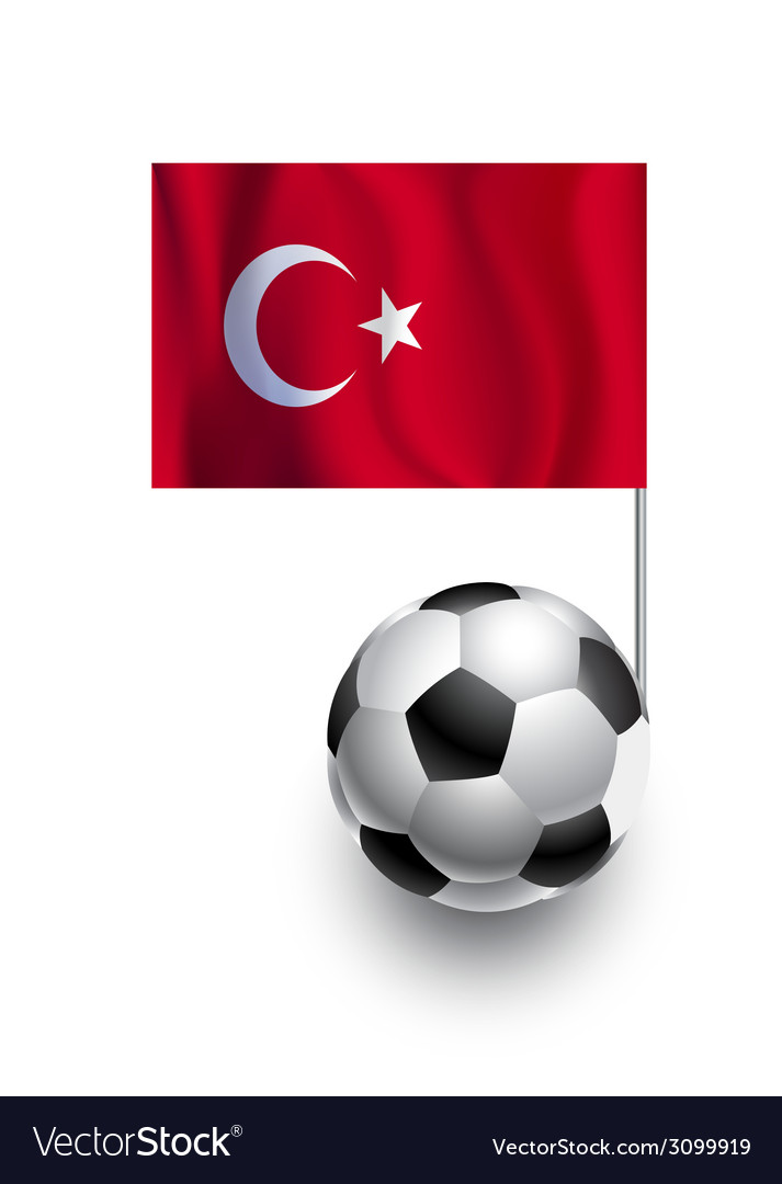 Soccer balls or footballs with flag of turkey vector | Price: 1 Credit (USD $1)
