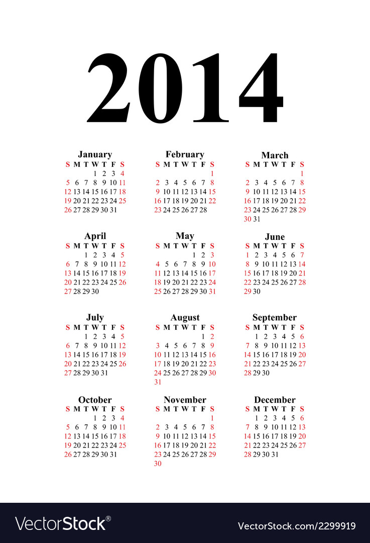 Vertical calendar for 2014 vector | Price: 1 Credit (USD $1)