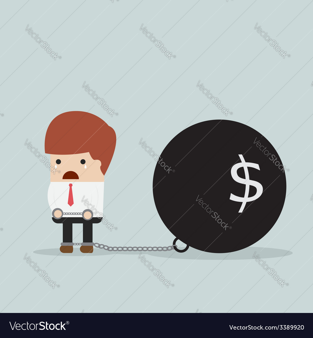 Businessman locked in a debt ball and chain debt vector | Price: 1 Credit (USD $1)