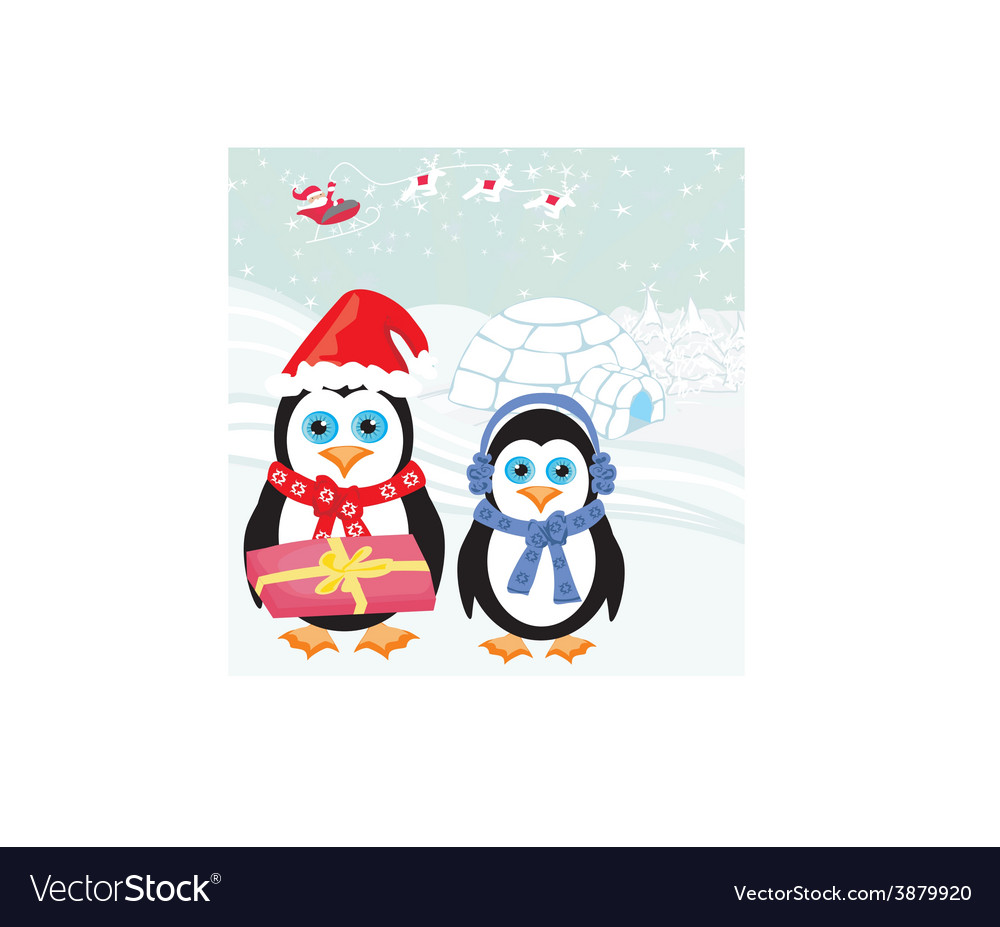 Christmas card with a penguins and santa vector | Price: 1 Credit (USD $1)