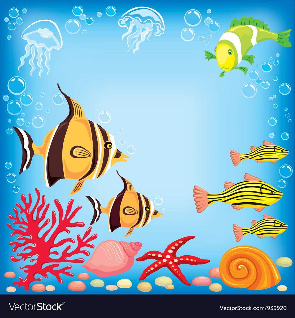 Colored fish under water vector | Price: 3 Credit (USD $3)