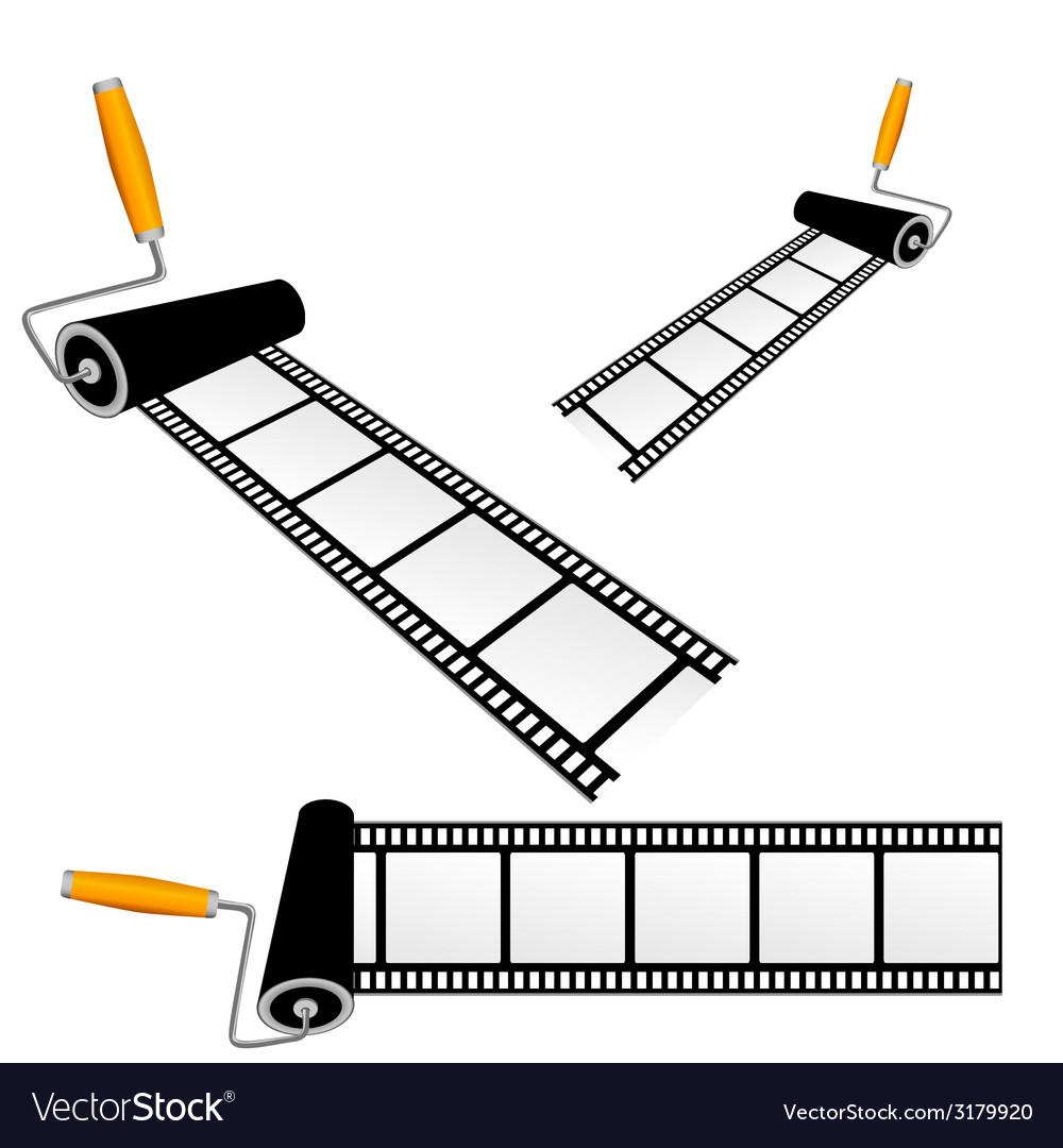 Film tape with roller color vector | Price: 1 Credit (USD $1)