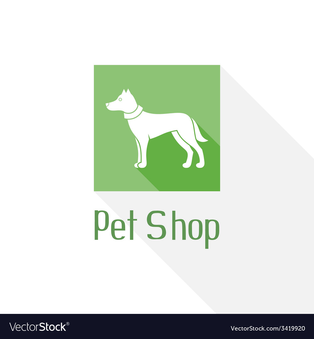 Flat pet shop logo with dog vector | Price: 1 Credit (USD $1)