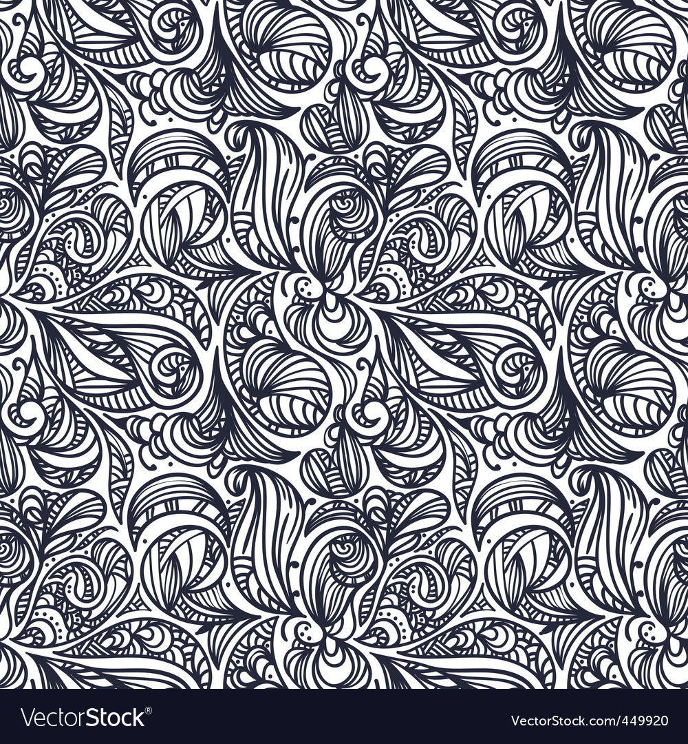 Floral monochrome pattern vector | Price: 1 Credit (USD $1)