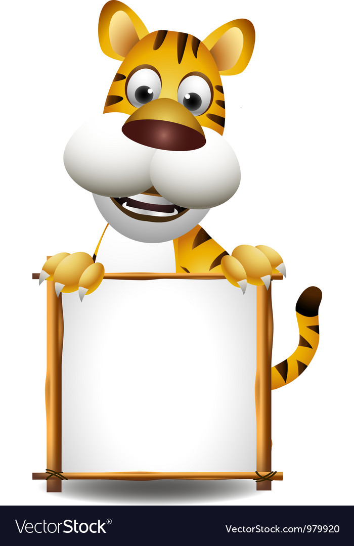 Funny tiger cartoon with blank sign vector | Price: 3 Credit (USD $3)