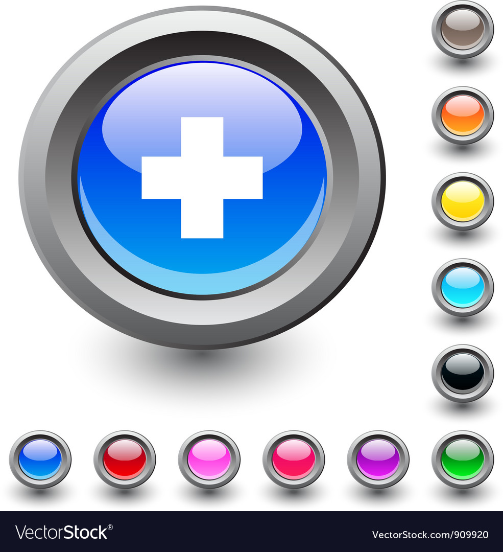 Plus round button vector | Price: 1 Credit (USD $1)