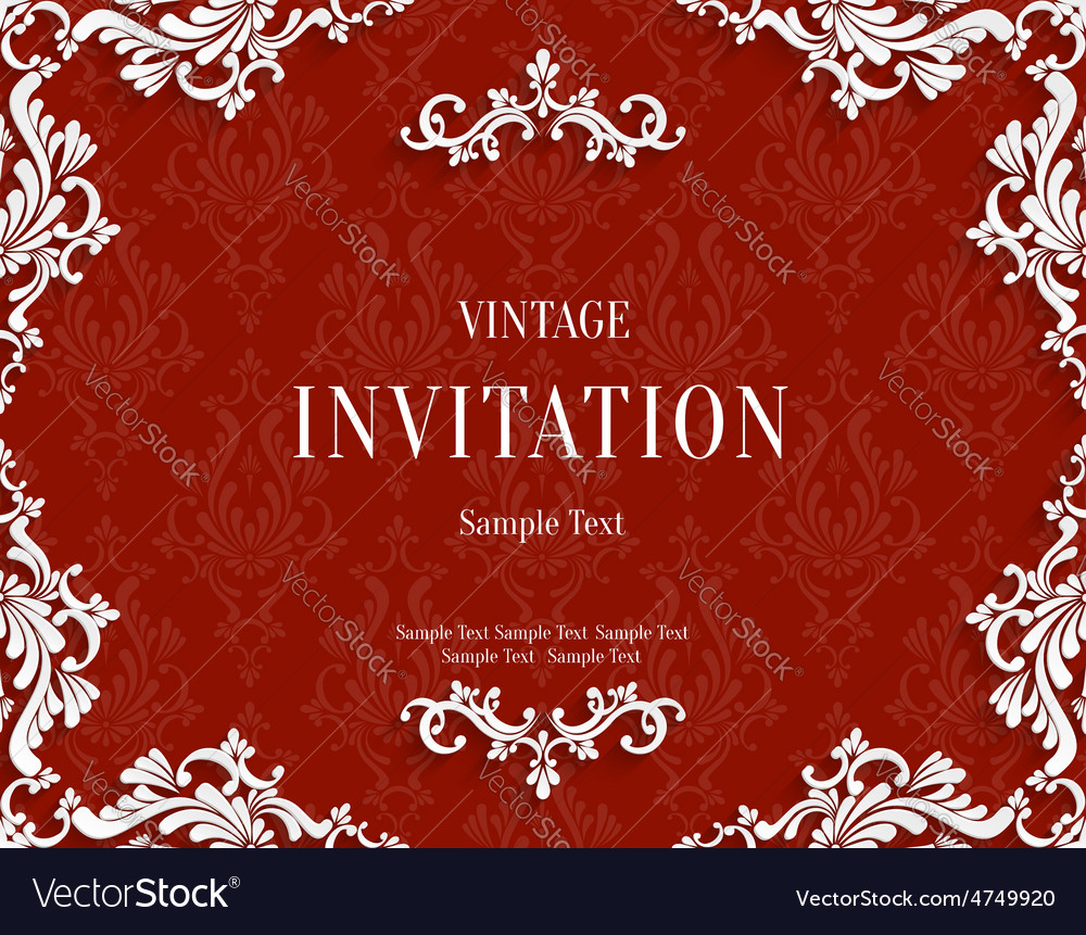 Red 3d vintage invitation card with floral vector | Price: 1 Credit (USD $1)