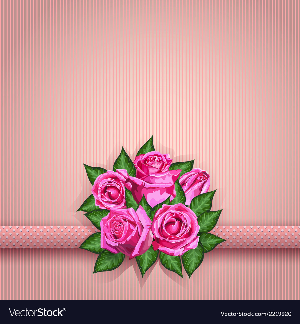 Roses postcard pink vector | Price: 1 Credit (USD $1)