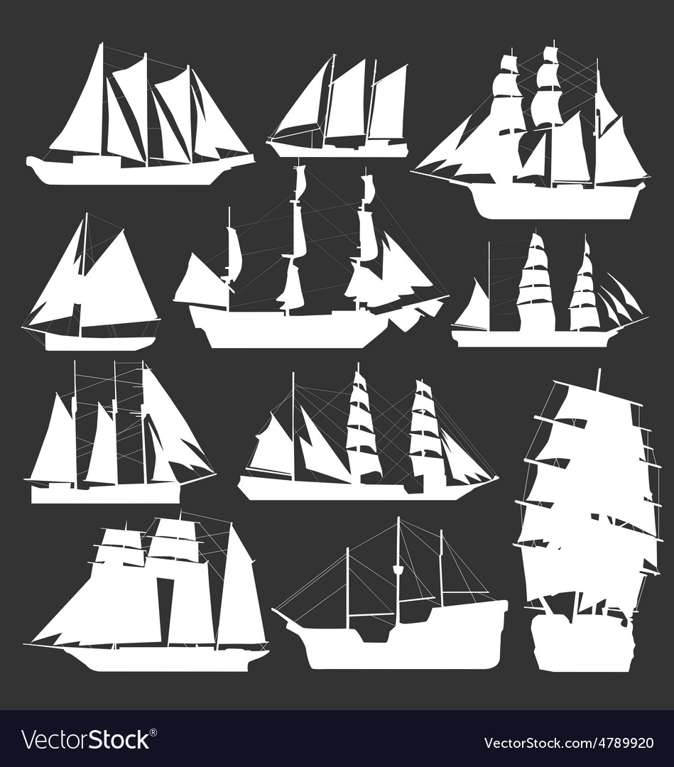 Silhouette of boats vector   Price: 1 Credit (USD $1)