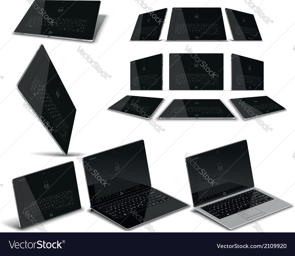 Tablet pc multiple views vector | Price: 1 Credit (USD $1)