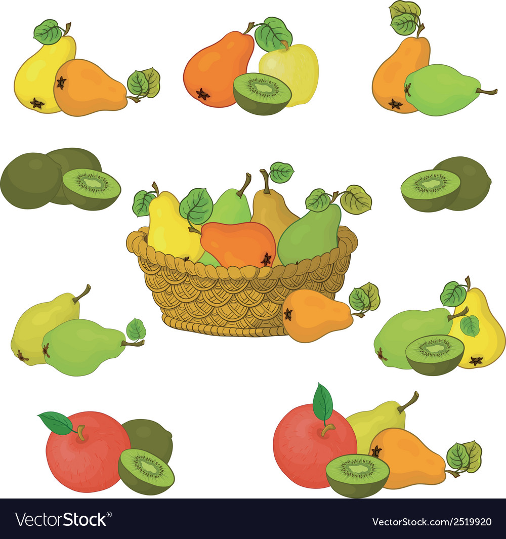 Wicker basket and fruits set vector | Price: 1 Credit (USD $1)