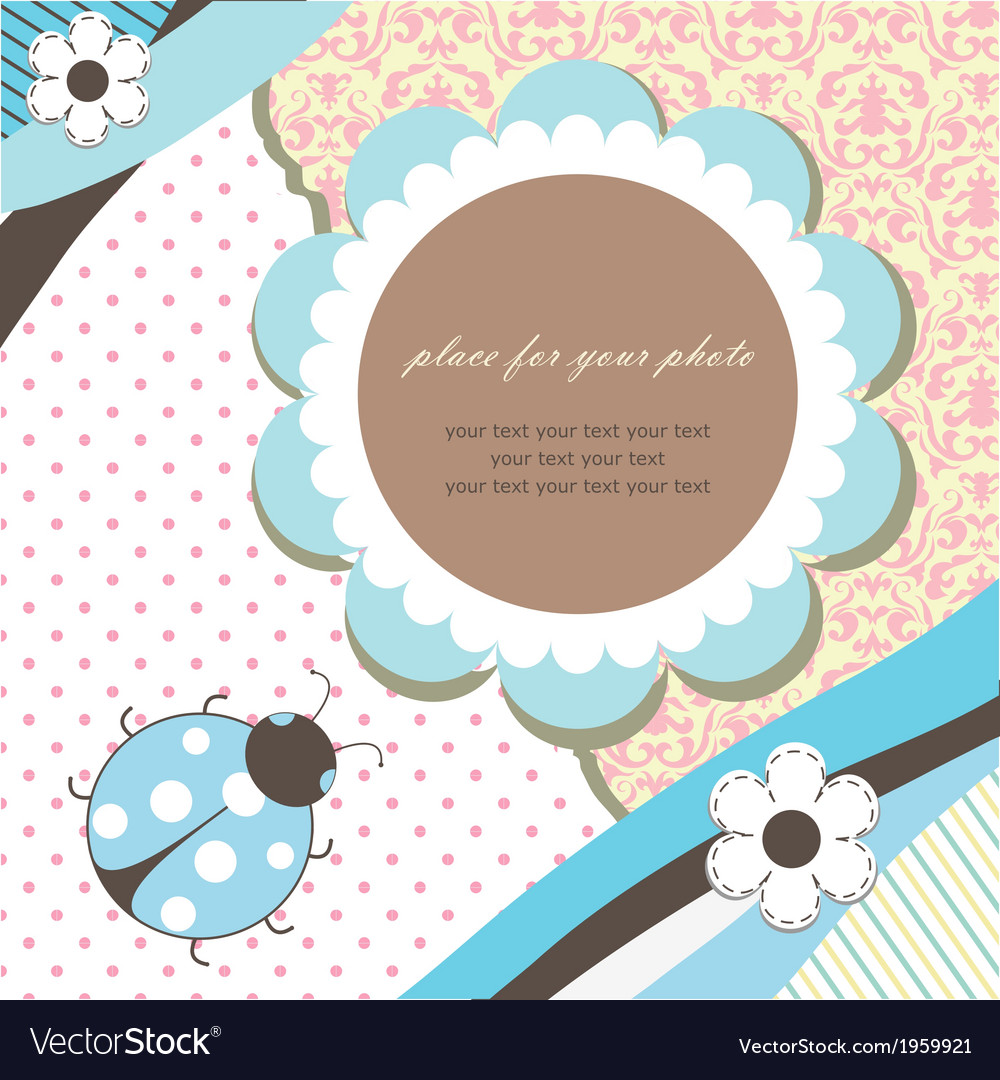 Blue romantic baby card vector | Price: 1 Credit (USD $1)