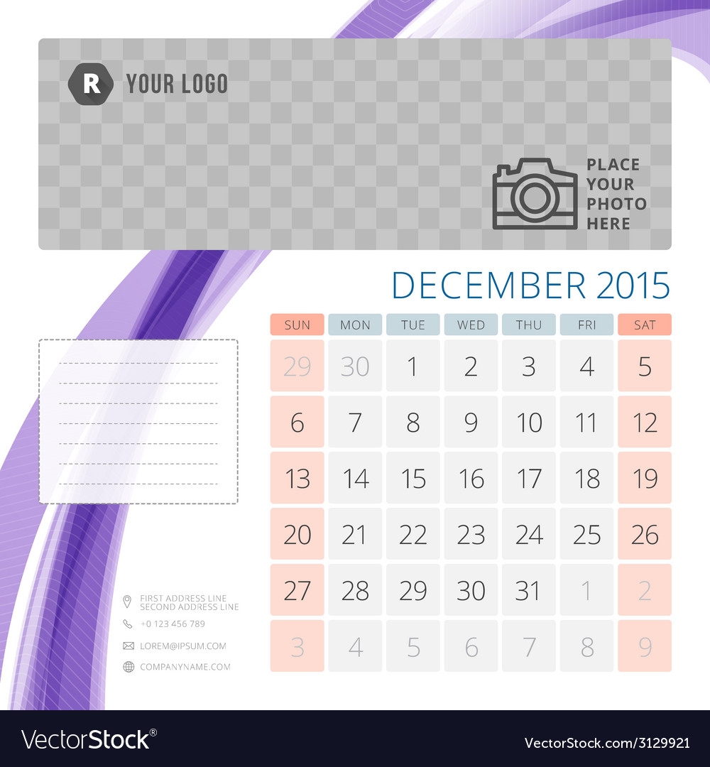 Calendar 2015 december template with place for vector | Price: 1 Credit (USD $1)