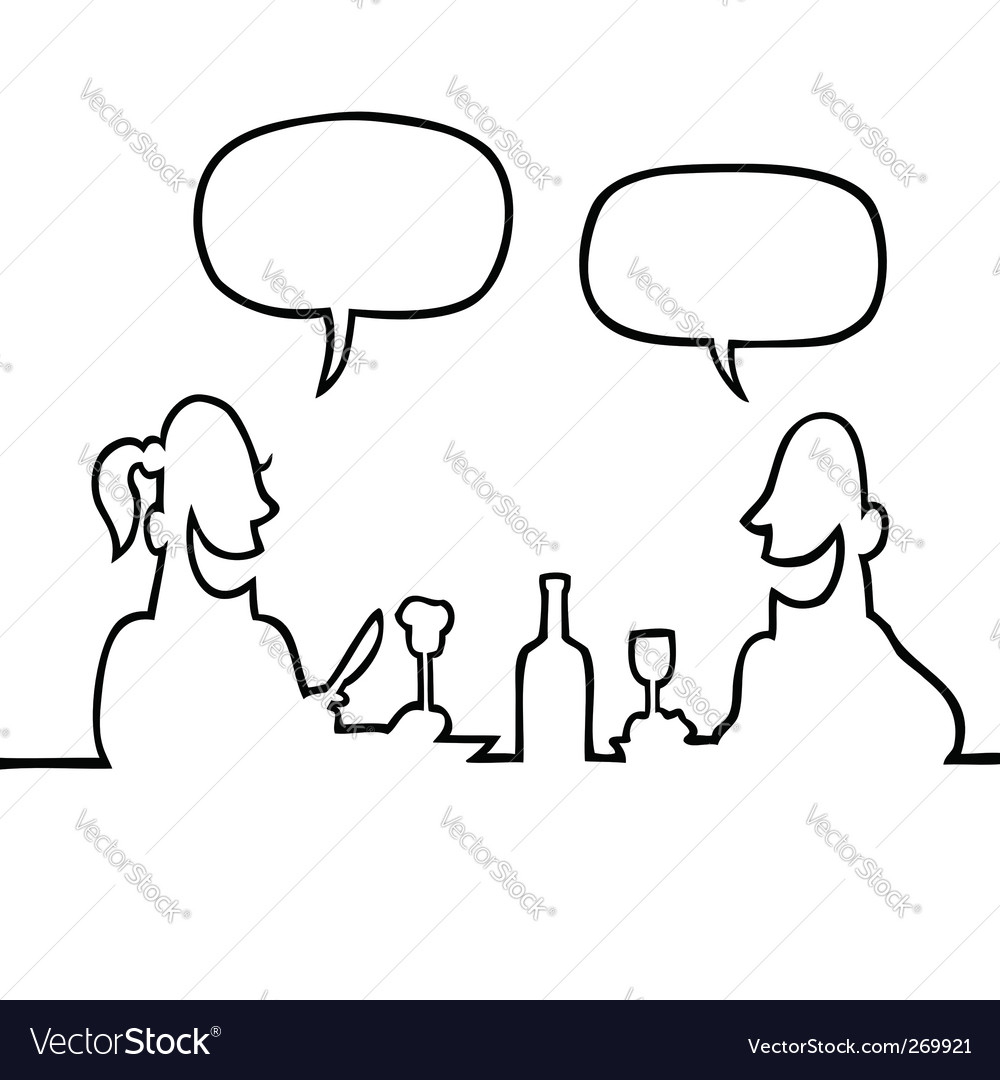 Couple having dinner vector | Price: 1 Credit (USD $1)