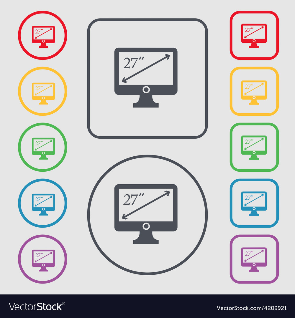 Diagonal of the monitor 27 inches icon sign symbol vector | Price: 1 Credit (USD $1)