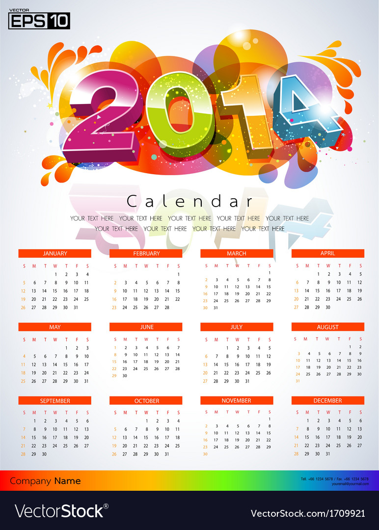 Exclusive new calendars 2014 vector | Price: 1 Credit (USD $1)