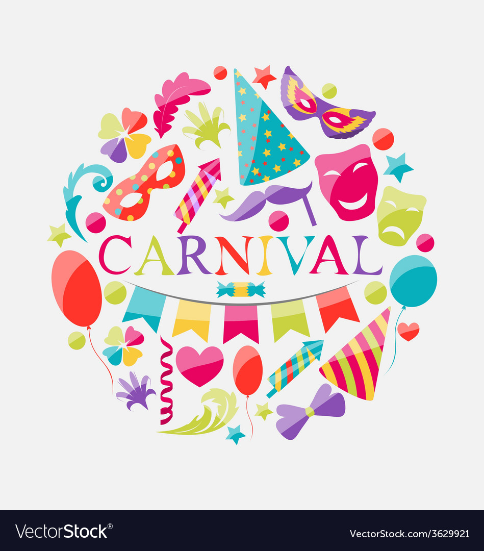 Festive banner with carnival colorful icons vector   Price: 1 Credit (USD $1)