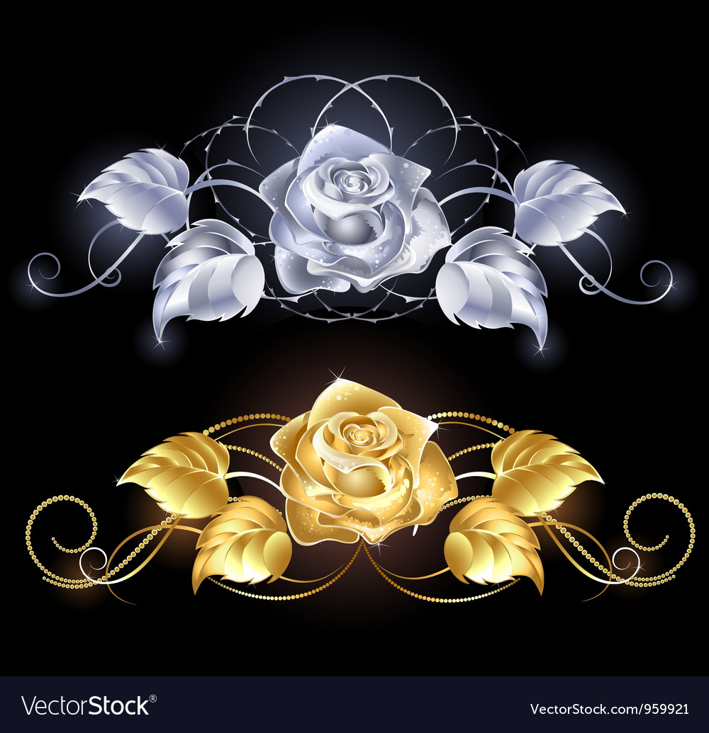 Gold and silver rose vector   Price: 1 Credit (USD $1)