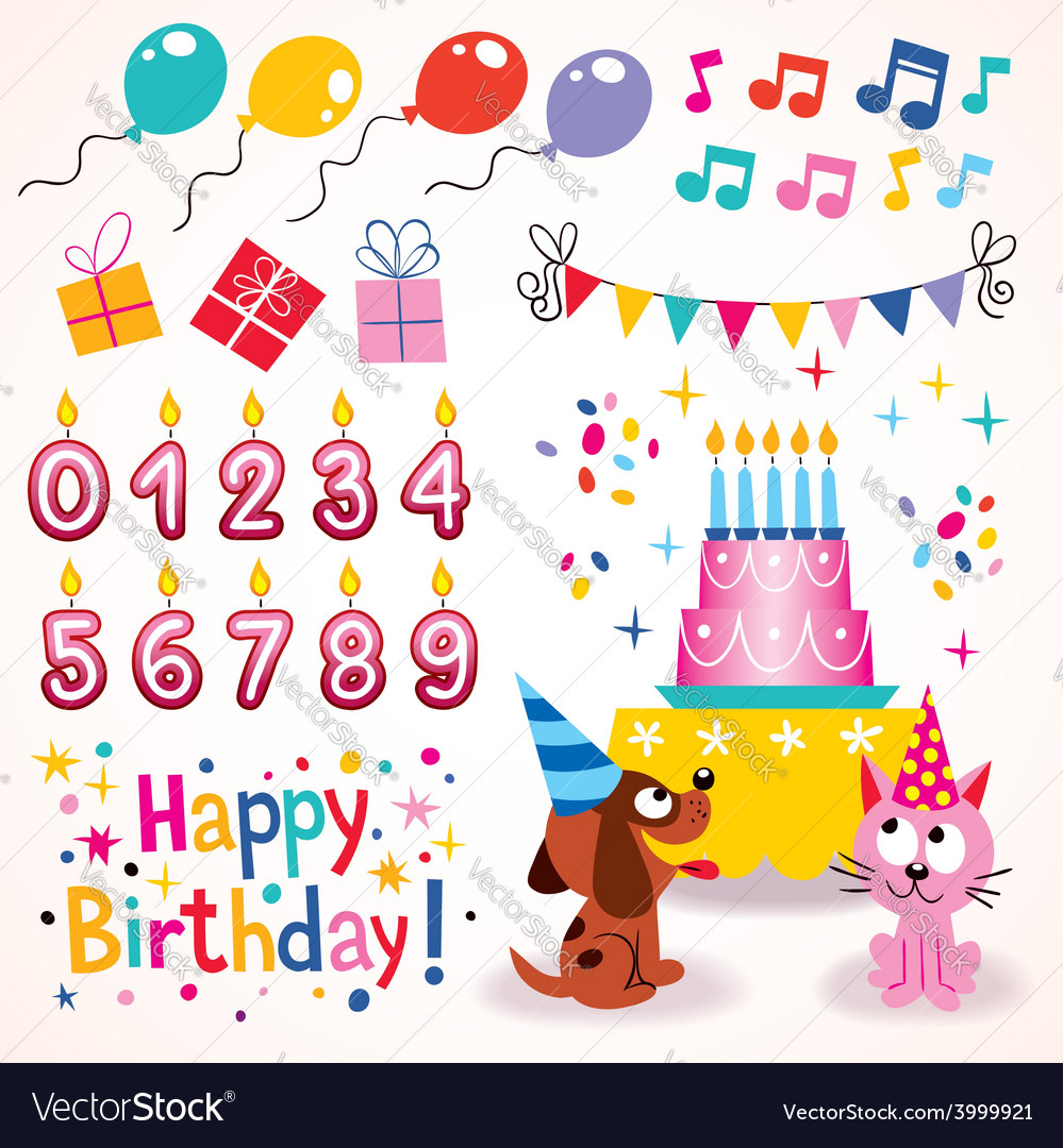 Happy birthday design elements set 2 vector | Price: 1 Credit (USD $1)