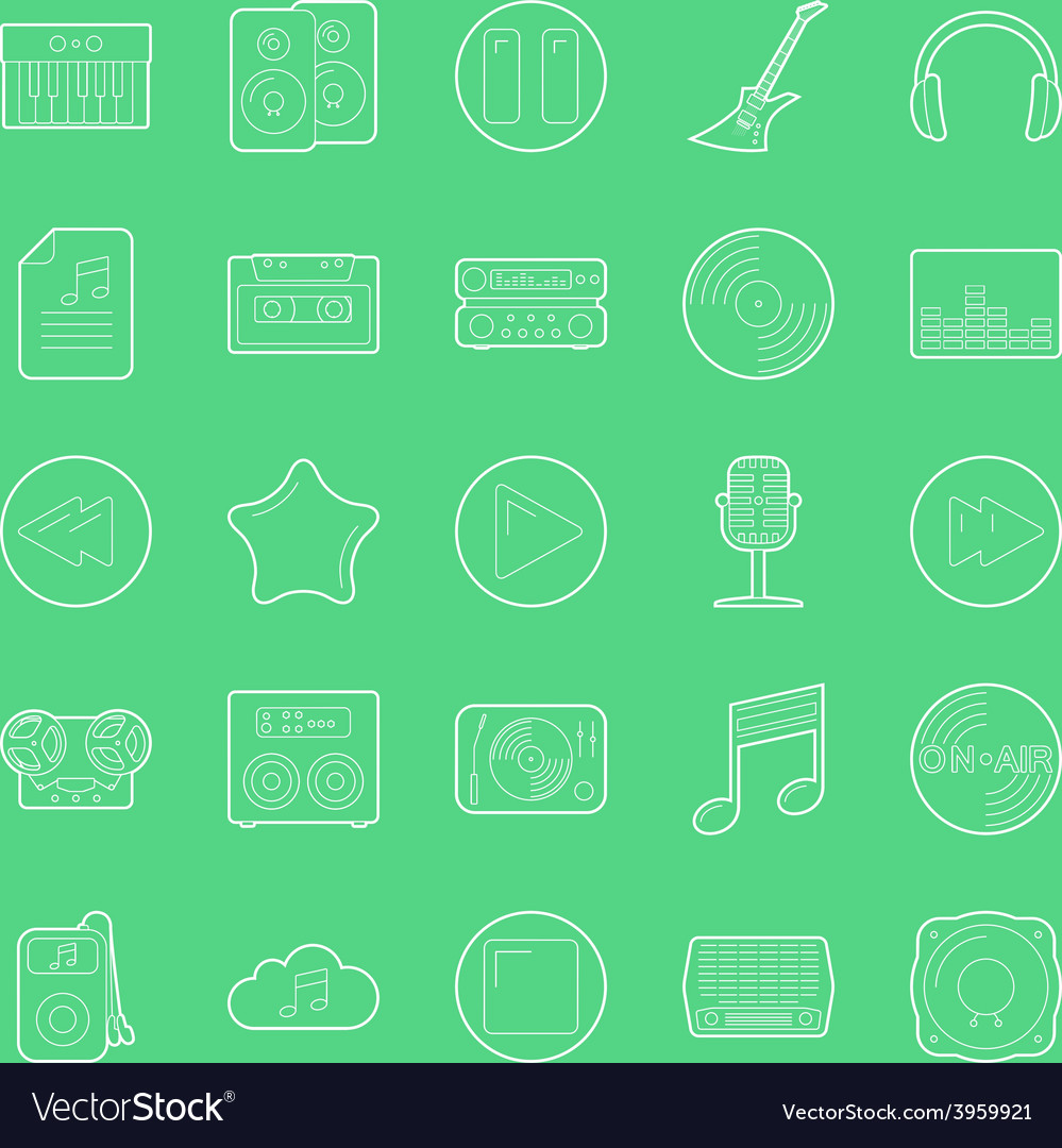 Music and audio thin lines icons set vector | Price: 1 Credit (USD $1)