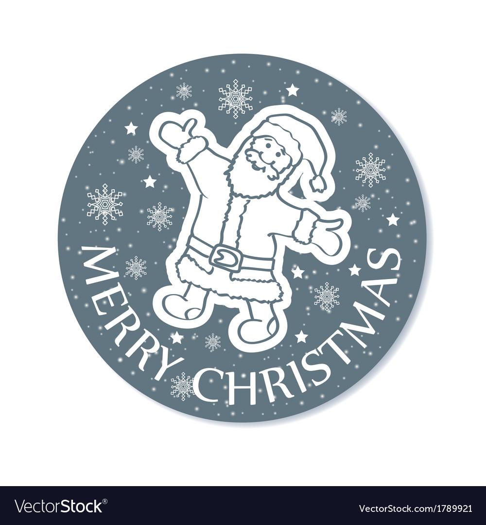 Round christmas greeting card santa grey vector   Price: 1 Credit (USD $1)