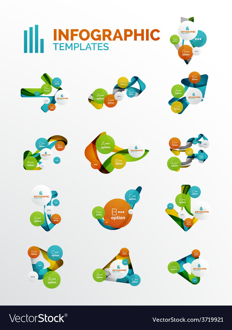 Set of modern business infographics vector | Price: 1 Credit (USD $1)