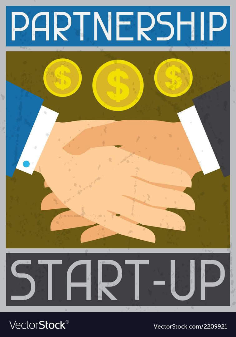 Start-up partnership retro poster in flat design vector | Price: 1 Credit (USD $1)