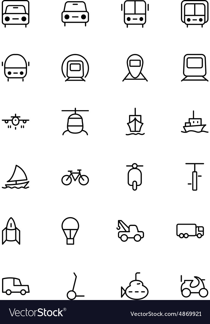 Transport line icons 1 vector